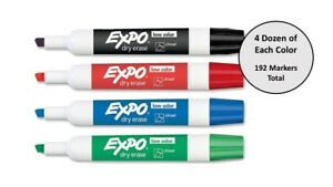 Expo Low odor Markers Asst Pack Black Blue Green Red 4 Dozen Of Each