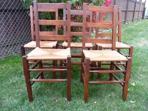 Set Of 2 Vtg Rush Bottom Chairs