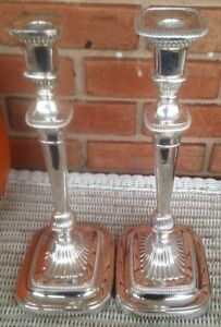 One Pair Of Tall Silverplate Candlesticks Barker Ellis Circa 1920 S 13 5 A