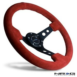 Nrg Steering Wheel 3 Deep Dish Red Suede With Black Stitch Stiching 350mm