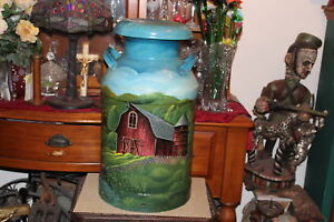 Large Antique Milk Can Hand Painted Country Barn Covered Bridge Signed Ewald