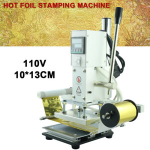 110v 100 130mm Hot Foil Stamping Machine Automatic Leather Craft Press Embossing