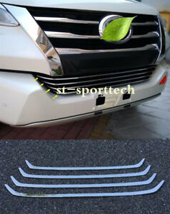 For Toyota Fortuner 2016 2018 Stainless Front Mesh Hood Bumper Grill Strip 4pcs