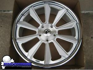 24 Forgiato F2 04 Brushed Silver Wheels Rims 24x10 5x150 Lexus Lx Toyota Tundra