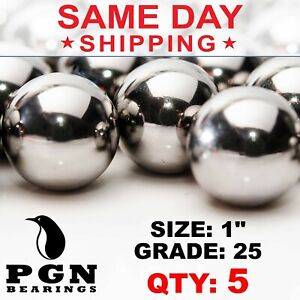 5 Qty 1 Inch G25 Precision Chrome Steel Bearing Balls Chromium Aisi 52100