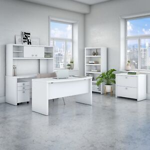 Office By Kathy Ireland Echo Bow Front Desk Office Suite In Pure White