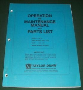 Taylor Dunn B 2 48 Bn Forklift Part Operator Operation Maintenance Manual Book