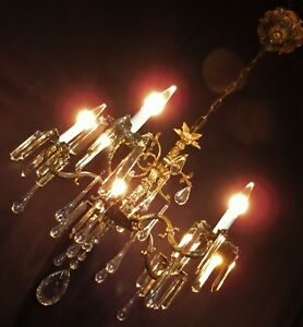 Vtg Deco French Cast Brass 32 Lead Crystals Chandelier Ceiling Fixture 1950 S