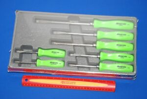 New Snap On 7 Piece Combination Screwdriver Set Green Sddx70ag Ships Free