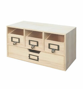 Natural Wood Desktop Office Organizer Drawers Craft Supplies Storage Cabinet