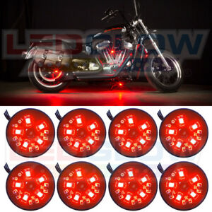 New Ledglow 8pc Red Pod Led Motorcycle Under Glow Neon Lighting Kit W Smd Leds