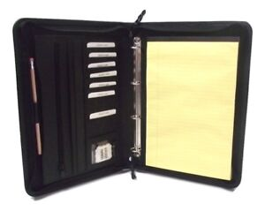 Black Leather A4 Folder Portfolio With Option To Personalise H0100 4 Ring