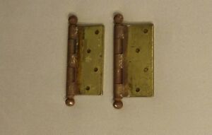 Pair Cannonball Stanley Brass Door Hinge Vintage Made In Usa Patent No 2154860