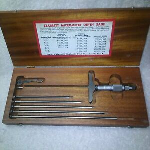 Starrett 445 Micrometer Depth Gage With 4 9 Rods And Wood Case