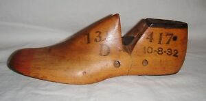 Vintage Wooden Shoe Last Dated 10 8 32 Youth 13 1 2d Metal Toe And Heel Gc