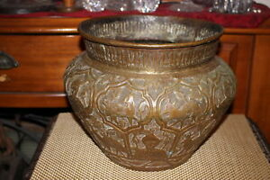 Antique Persian Middle Eastern Copper Brass Metal Bowl God S Camels Deer Wolves