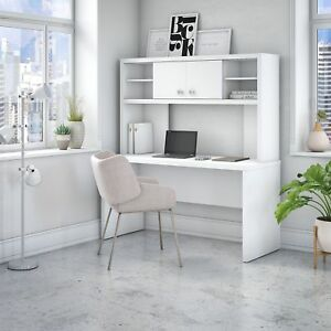 Office By Kathy Ireland Echo 60w Credenza Desk With Hutch In White