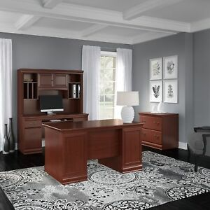 Bush Birmingham 60w Executive Desk Credenza Hutch And Lateral File