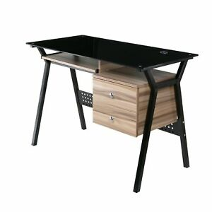 Onespace 50 ld5105wn Glass Desk With Wood Drawers And Pullout Keyboard Tray