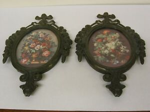 Vintage Floral Ornate Oval Brass Picture Frames Made In Italy