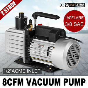 8cfm Two stage Rotary Vane Vacuum Pump 1 4 flare 15micron 1hp Oil Reservoir