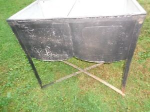 Vintage Double Basin Washing Rinsing Tub Rustic Galvanized Steel