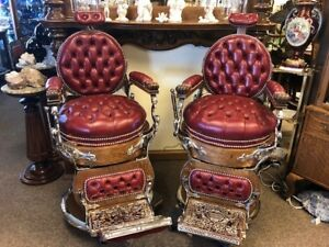Antique Oak Matched Pair Koken Kochs Double Round Barber Chairs