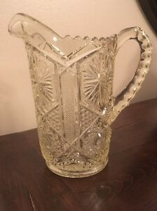 Antique Pressed Glass Pitcher Circa 1800 S