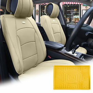 Pu Leather Seat Cushion Covers Front Bucket Beige W Yellow Dash Mat For Auto