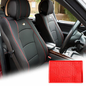 Pu Leather Seat Cushion Covers Front Bucket Black W Red Dash Mat For Suv