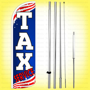 Tax Service Windless Swooper Flag Kit 15 Feather Banner Sign Patriotic Bq h