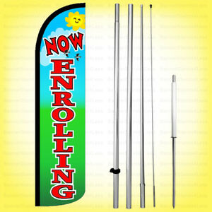 Now Enrolling Windless Swooper Flag Kit 15 Feather Banner Sign Gz h
