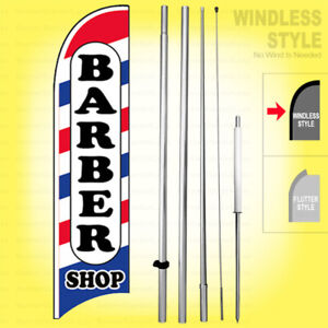 Barber Shop Windless Swooper Flag Kit 15 Feather Banner Sign Wb h