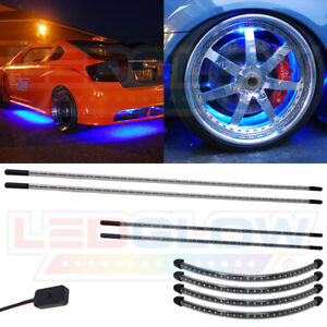 Ledglow 4pc Blue Led Underbody Glow Neon Car Lights W 4pc Wheel Well Kit Package