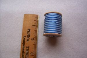 Vtg Antique Wooden Spool French Variegated Blue Cotton Thread Dmc