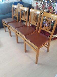 Set 4 Wood Vintage Antique Mid Century Stakmore Harp Lyre Folding Dining Chairs