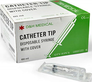 Disposable Catheter Tip 60ml Large Syringes 50 pack No Needles Fda approved