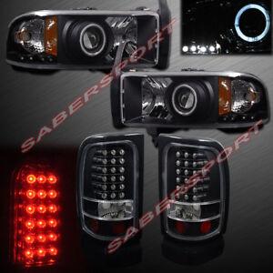 Black Halo Projector Headlights Led Taillights For 1994 2001 Dodge Ram Pickup