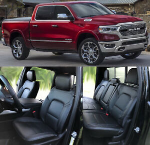 2019 21 Dodge Ram Crew Cab Big Horn Lone Star Black Leather Seat Covers Perfed