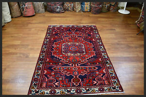 Fantastic Red Blue Handwoven Mahal 4x6 Persian Oriental Area Rug