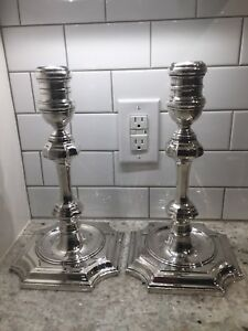 Chelsea House 1984 Silverplate 13 Candlestick Pair Heavy Excellent Condition