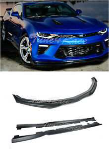 For 16 Up Camaro Ss Abs Plastic Front Bumper Lip Side Skirts W Cf Side Pieces