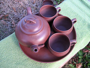 Oriental Antique Chinese Yixing Dark Red Clay Teapot Cups Serving Tray Set
