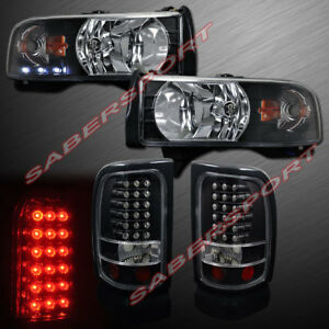 One Pieces Style Black Headlights And Led Taillights For 94 01 Dodge Ram Pickup
