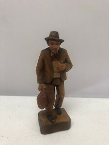 Vintage Jobin Brienz Switzerland 3855 Hand Carved Wooden Man Figurine Statue