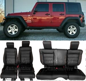 2008 2009 2010 Jeep Wrangler Katzkin Leather Seat Covers Kit Black Salsa 4 Door