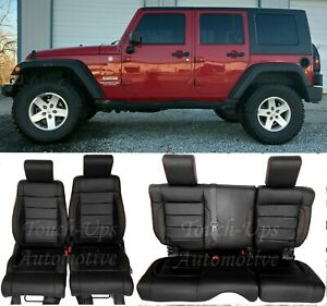 2008 2009 2010 Jeep Wrangler Leather Seat Covers Kit Black Salsa Red 4 Door