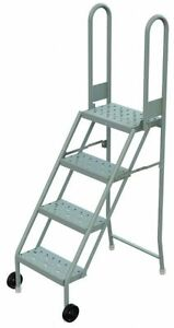 4 step Tilt And Roll Ladder Perforated Step Tread 64 Overall Height 300 Lb
