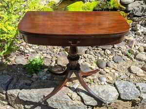 Antique Duncan Phyfe Style American Regency Federal Mahogany Game Card Table