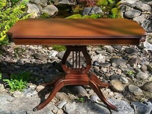Antique Duncan Phyfe Style American Federal Mahogany Console Table Harp Lyre